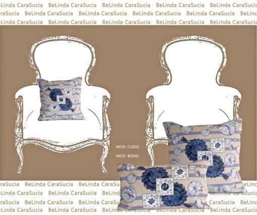 tienda Belinda Carasucia diseño taurino comercio electrónico cojines cojín cuadrado hombreras rayas azules CU032 foto alternativa