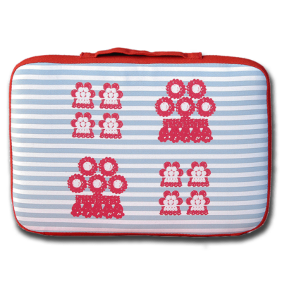 tienda Belinda Carasucia diseño taurino comercio electrónico almohadillas almohadilla alamares pequeños rojos fondo rayas azules AL013