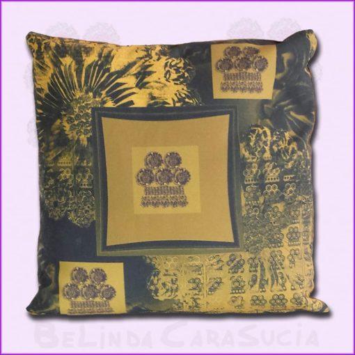 tienda Belinda Carasucia diseño taurino comercio electrónico cojines cojín cuadrado alamar ocre y oscuro CU-ES04