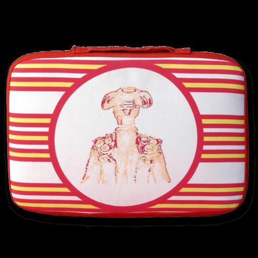 tienda Belinda Carasucia diseño taurino comercio electrónico almohadillas almohadilla torero rayas rojas y amarillas TR021